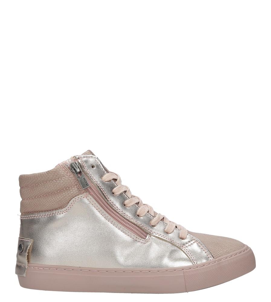 Różowe sneakersy trampki sznurowane z ozdobnym suwakiem Big Star BB274729 wierzch skóra ekologiczna