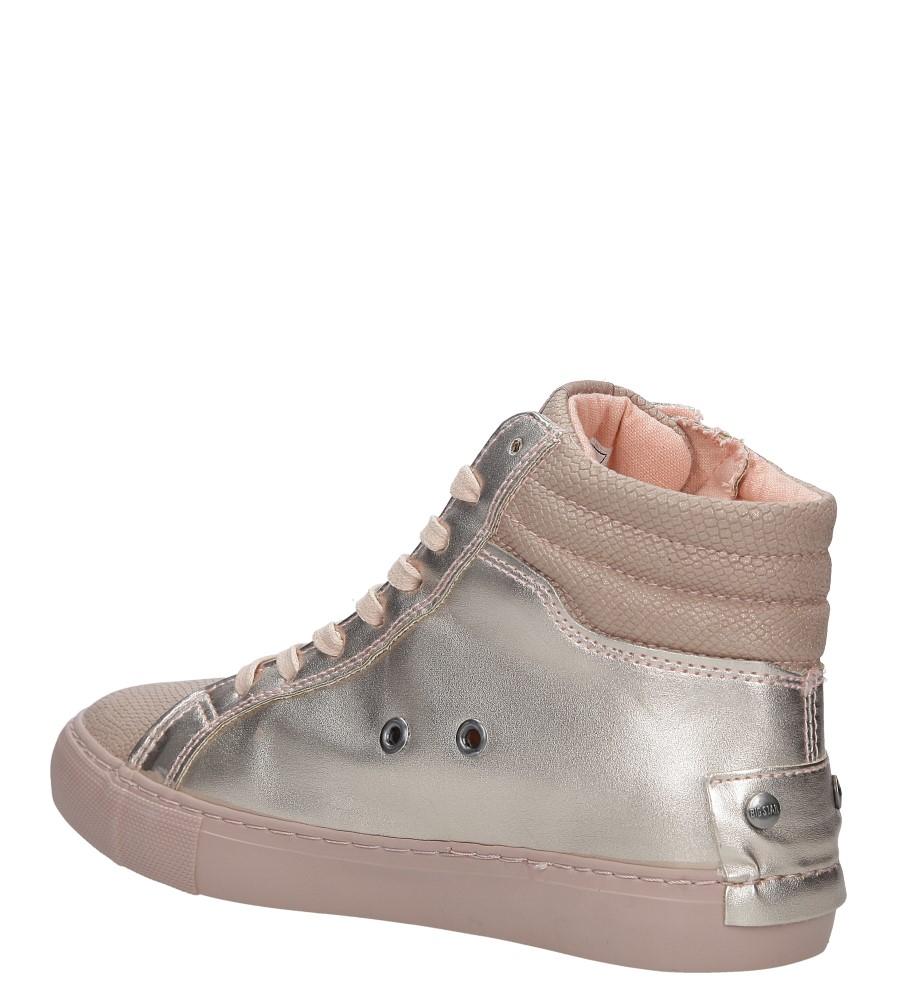 Różowe sneakersy trampki sznurowane z ozdobnym suwakiem Big Star BB274729 wnetrze materiał