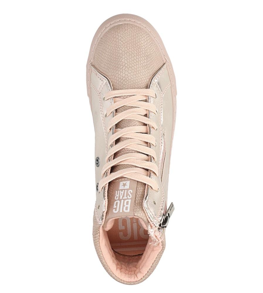 Różowe sneakersy trampki sznurowane z ozdobnym suwakiem Big Star BB274729 wkladka materiał