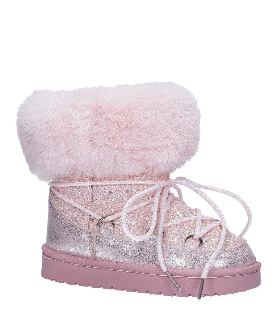 cdd2493dfd090 Różowe śniegowce brokatowe z futerkiem Casu 301-73B ...