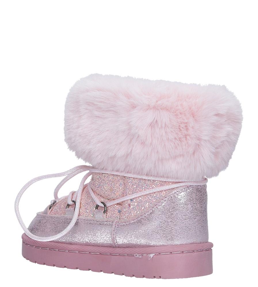 Różowe śniegowce brokatowe z futerkiem Casu 301-73B sezon Zima