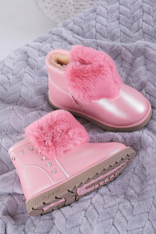 Różowe śniegowce mukluki brokatowe z futerkiem emu Casu 978B