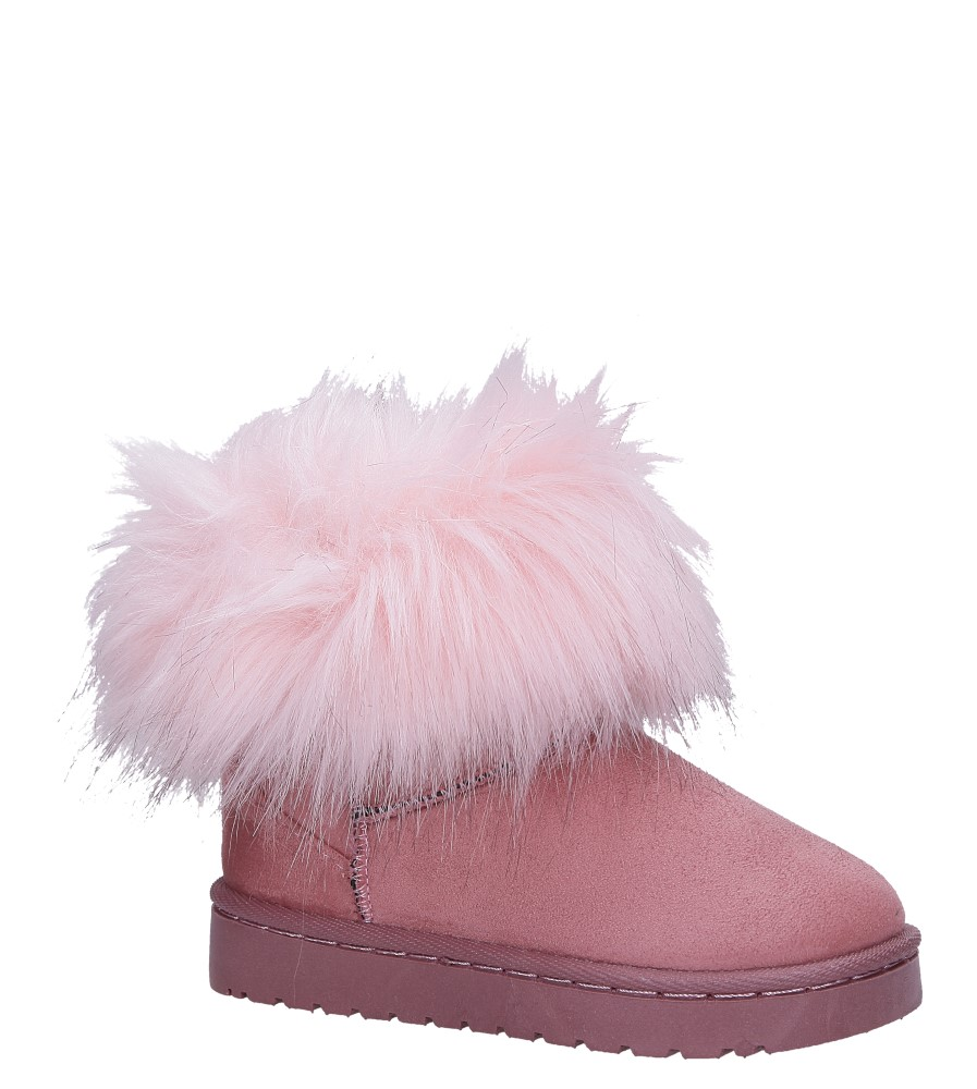 Różowe śniegowce mukluki z futerkiem emu Casu 20203-2D