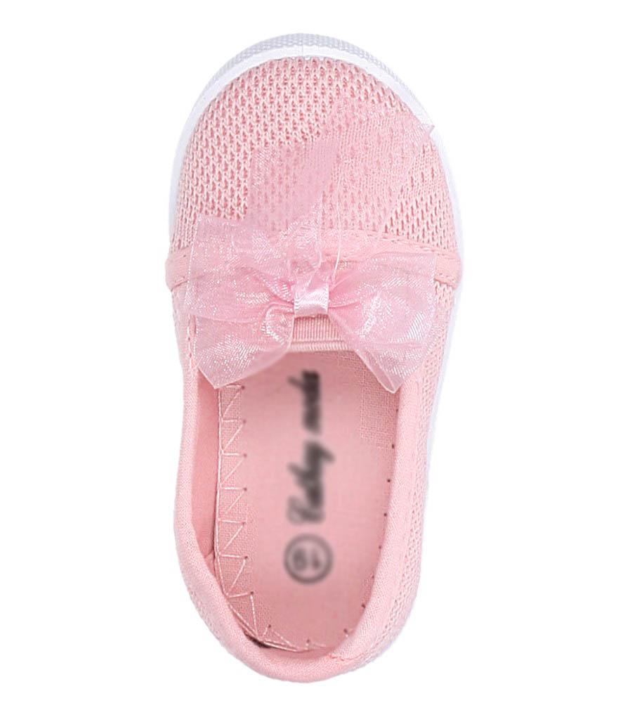 Różowe trampki slip on z kokardką Casu 3156 kolor jasny różowy