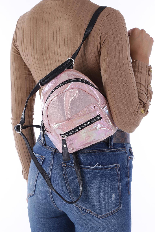 Różowy plecak holograficzny z kieszonką z przodu Casu AE-47 producent Casu