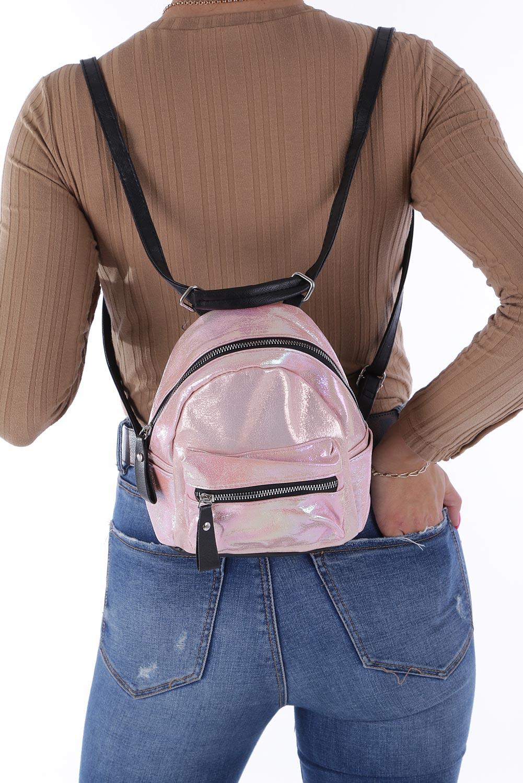 Różowy plecak holograficzny z kieszonką z przodu Casu AE-47 sezon Lato