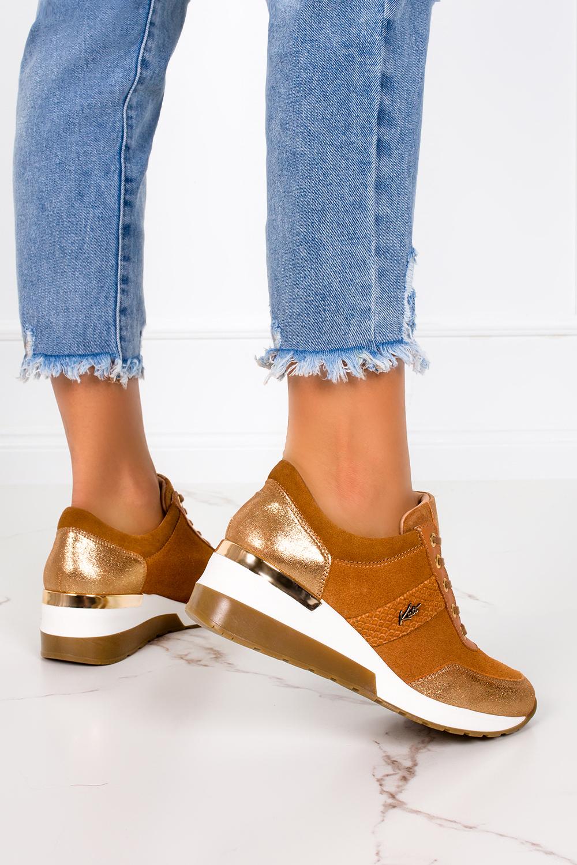 Rude sneakersy Kati buty sportowe sznurowane polska skóra 7074 rudy