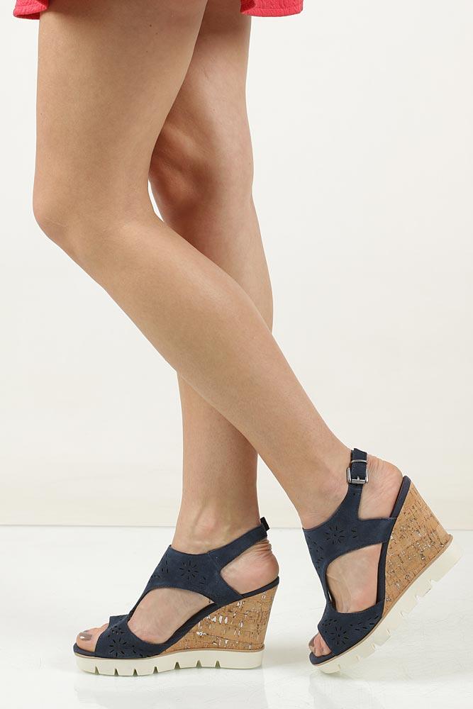 Sandały ażurowe Marco Tozzi 2-28354-28 kolor granatowy