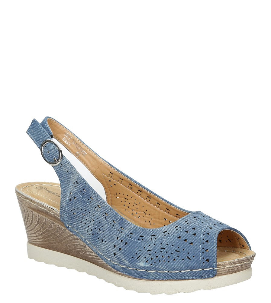 Damskie Sandały ażurowe na koturnie Casu 7SNU86245K niebieski;;