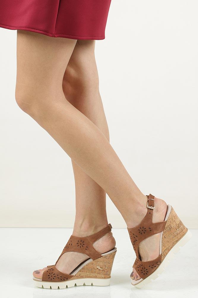 Damskie Sandały brązowe ażurowe Marco Tozzi 2-28354-28 brązowy;;