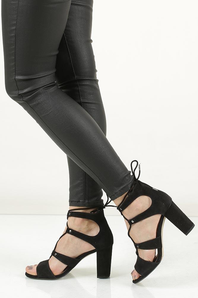 Sandały czarne zamszowe wiązane S.Oliver 5-28334-28