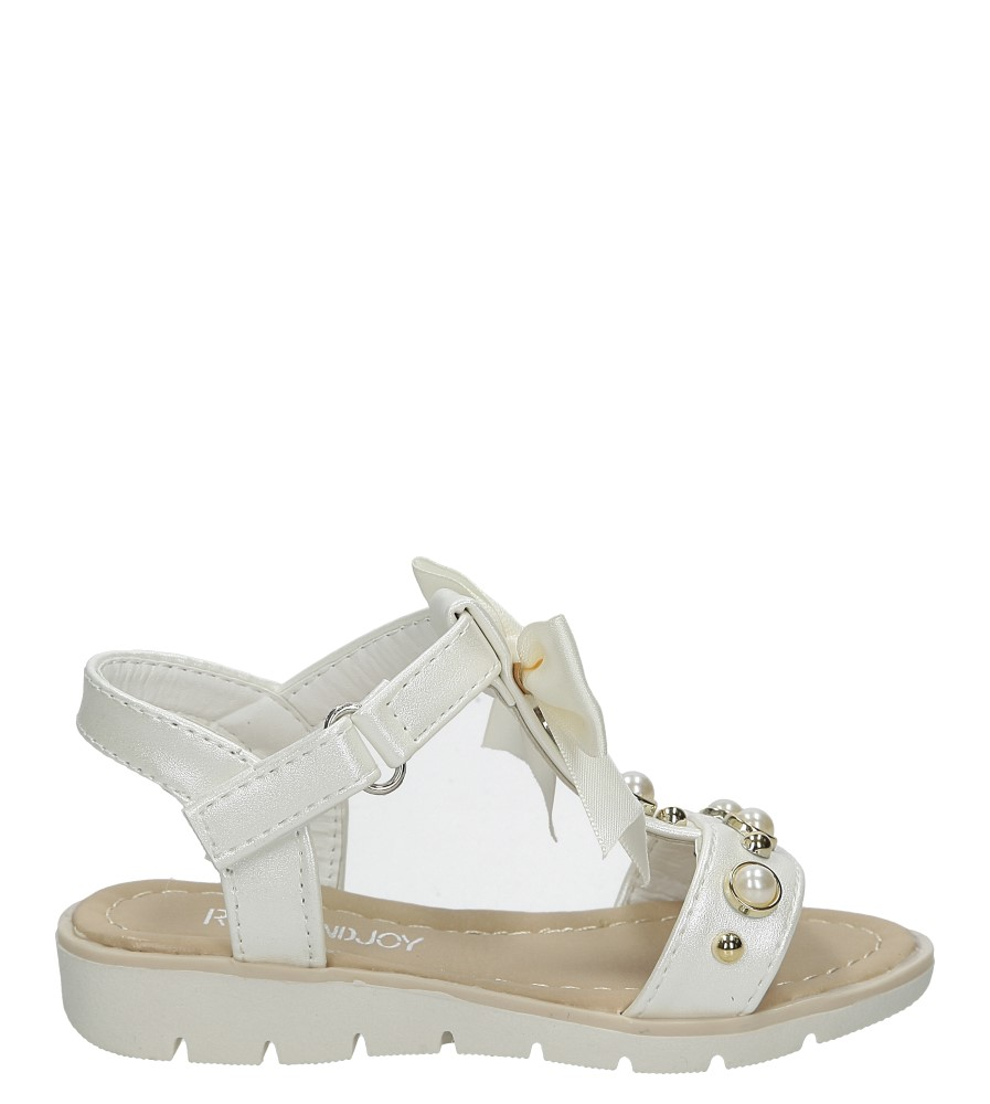 Sandały ecru na rzep z kokardą i perełkami Casu 20414-2C
