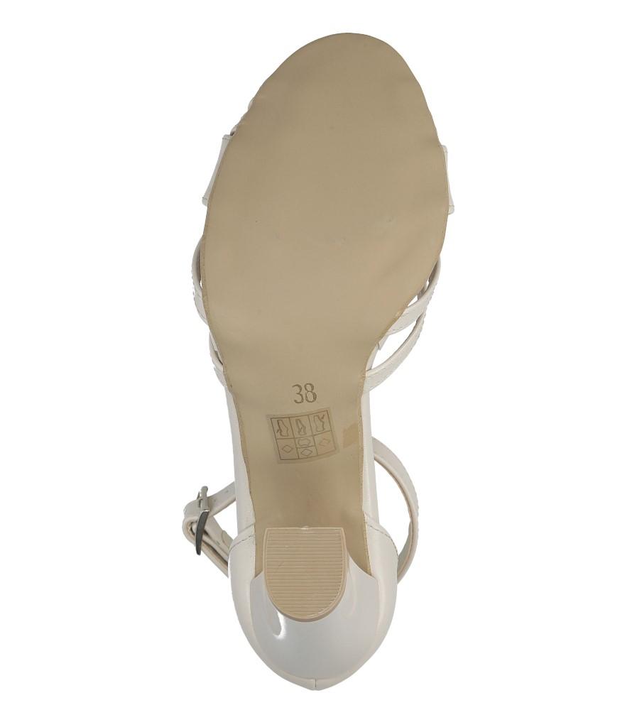 Sandały ecru z paskiem wokół kostki na słupku Casu 1976 wys_calkowita_buta 18.5 cm
