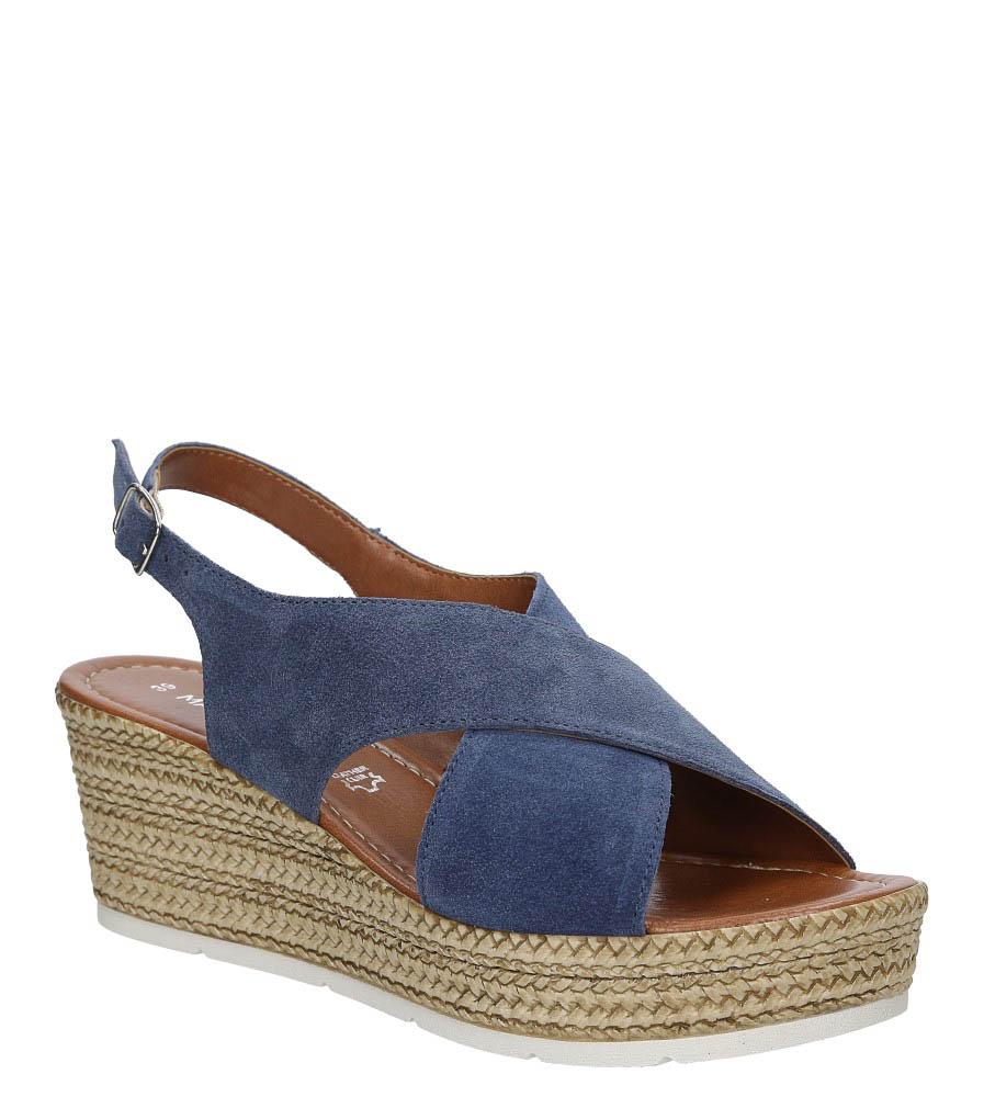 Sandały niebieskie welurowe na koturnie Marco Tozzi 2-28362-28