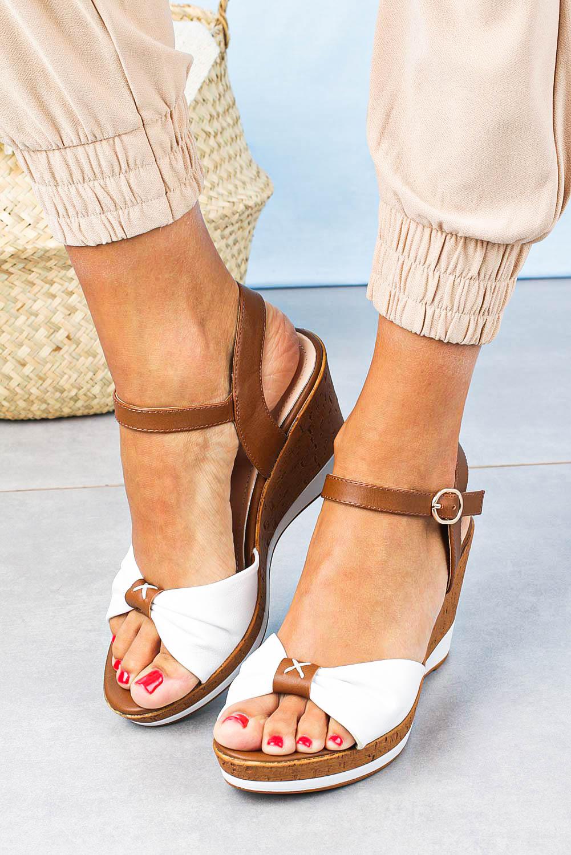 Sandały Sergio Leone na koturnie białe SK316