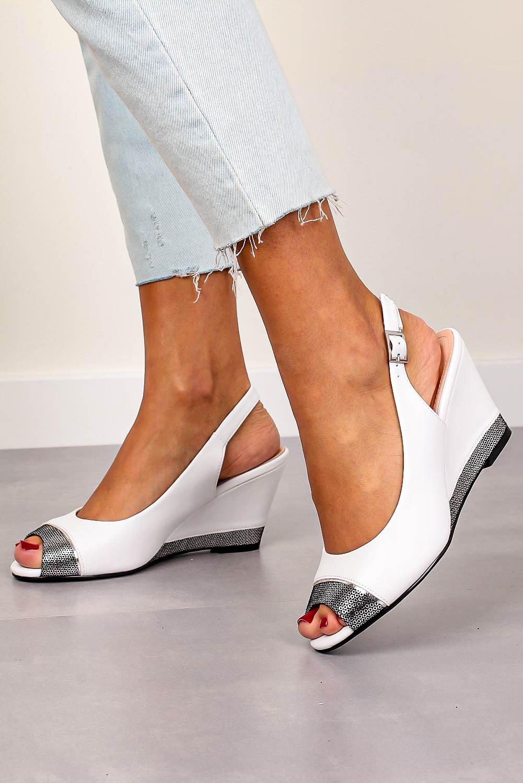 Sandały Sergio Leone na koturnie białe SK777 biały