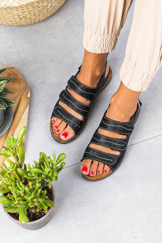 Sandały Sergio Leone na nikim koturnie zapinane na rzep czarne SK038 czarny