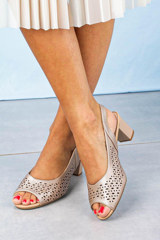 Sandały Sergio Leone na słupku ażurowe beżowe SK823