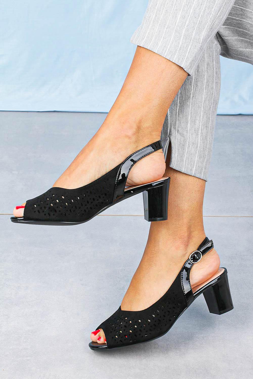 Sandały Sergio Leone na słupku ażurowe czarne SK823