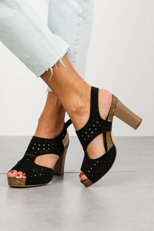 Sandały Sergio Leone na słupku ażurowe czarne SK858