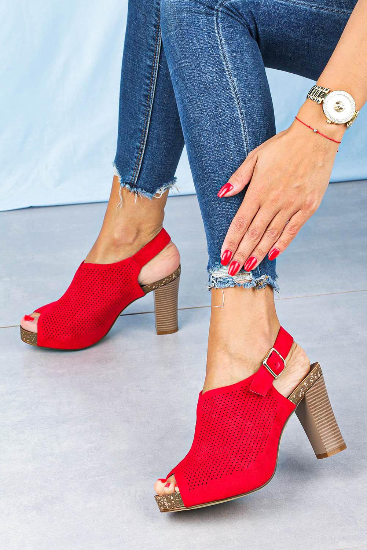Sandały Sergio Leone na słupku ażurowe zabudowane czerwone SK855