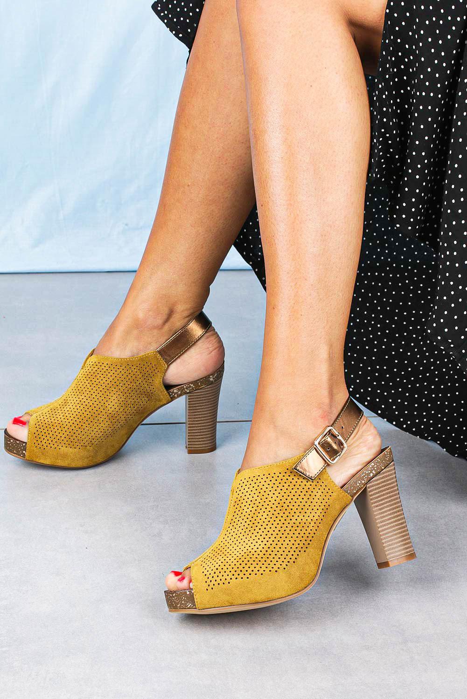 Sandały Sergio Leone na słupku ażurowe zabudowane żółte SK855