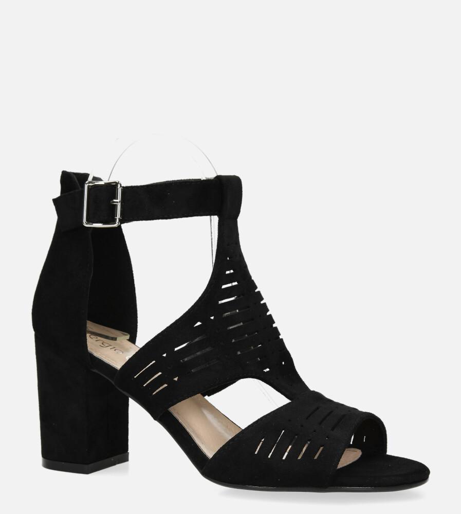 Sandały Sergio Leone na słupku z zakrytą piętą ażurowe czarne SK903