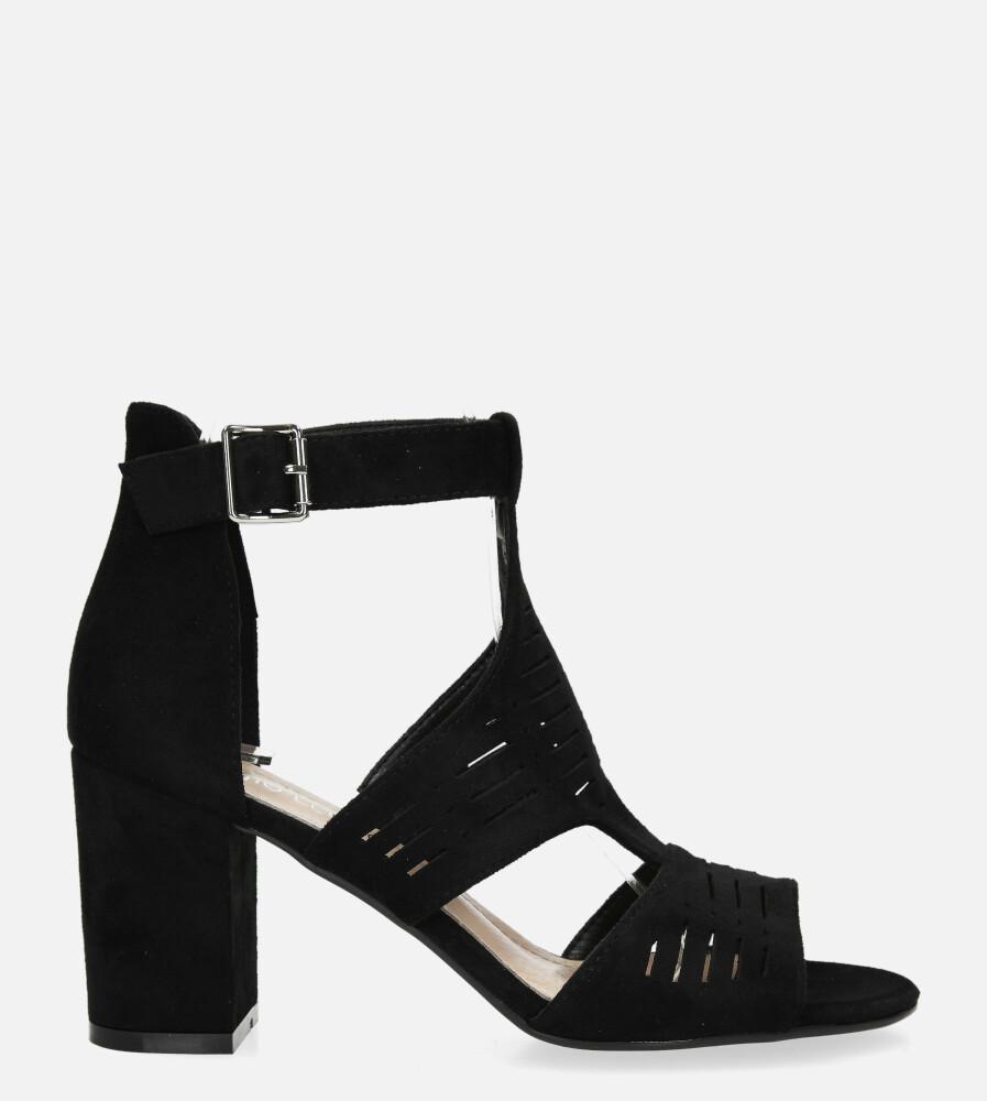 Sandały Sergio Leone na słupku z zakrytą piętą ażurowe czarne SK903 kolor czarny