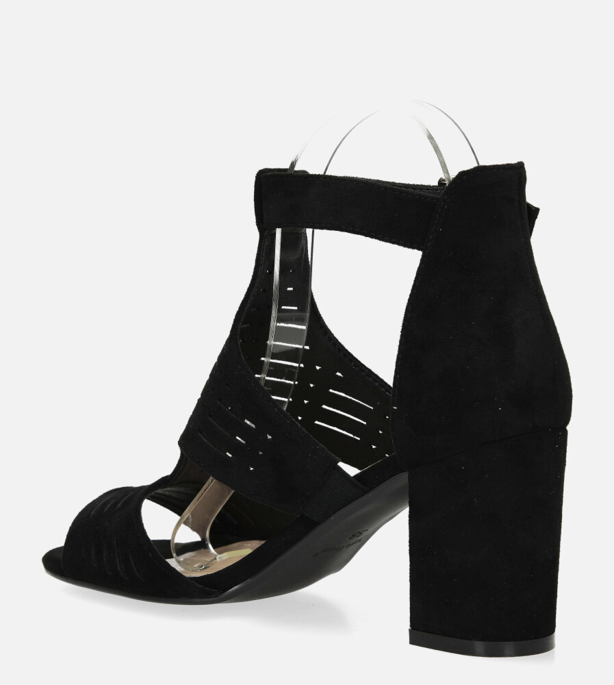 Sandały Sergio Leone na słupku z zakrytą piętą ażurowe czarne SK903 wysokosc_obcasa 8 cm