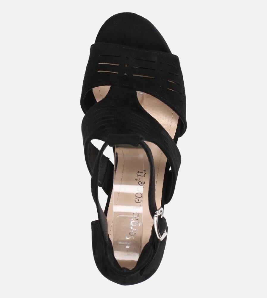 Sandały Sergio Leone na słupku z zakrytą piętą ażurowe czarne SK903 wysokosc_platformy 1 cm