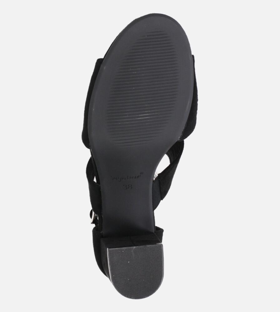 Sandały Sergio Leone na słupku z zakrytą piętą ażurowe czarne SK903 wys_calkowita_buta 17.5 cm