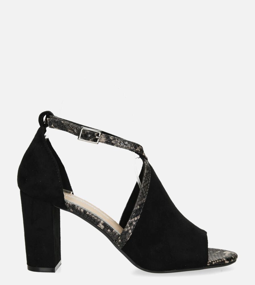 Sandały Sergio Leone na słupku z zakrytą piętą czarne SK908 wysokosc_obcasa 8 cm