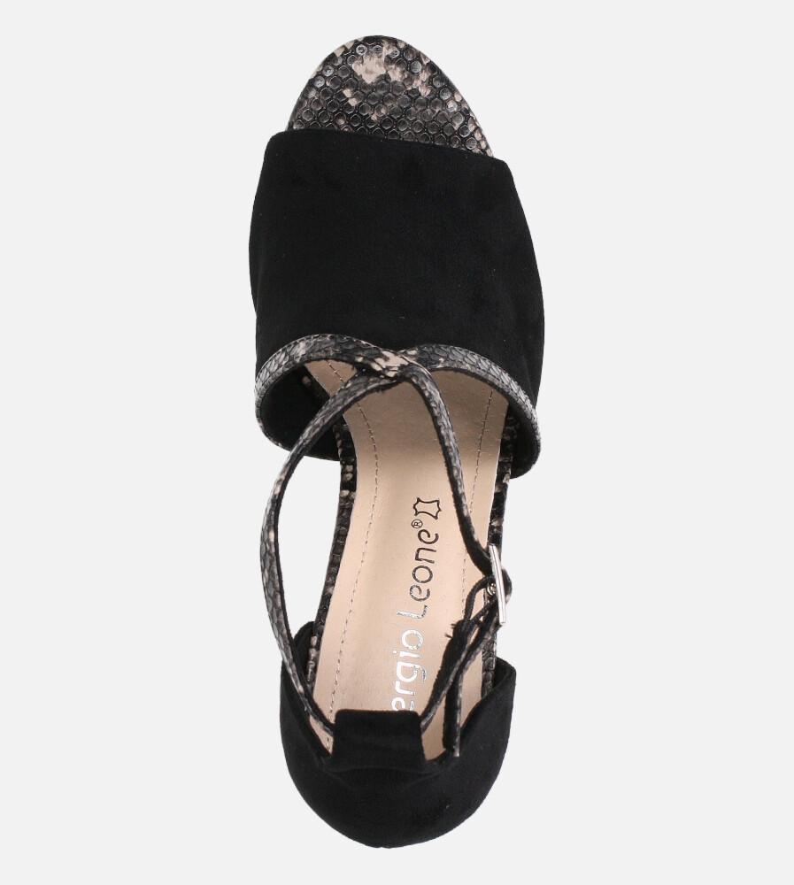 Sandały Sergio Leone na słupku z zakrytą piętą czarne SK908 wys_calkowita_buta 16.5 cm