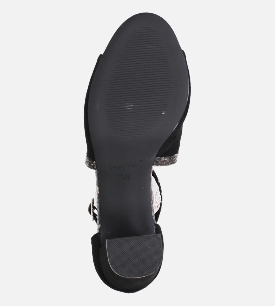 Sandały Sergio Leone na słupku z zakrytą piętą czarne SK908 wierzch zamsz ekologiczny