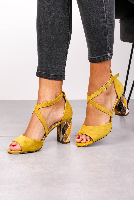 Sandały Sergio Leone na słupku z zakrytą piętą paski na krzyż żółte SK865