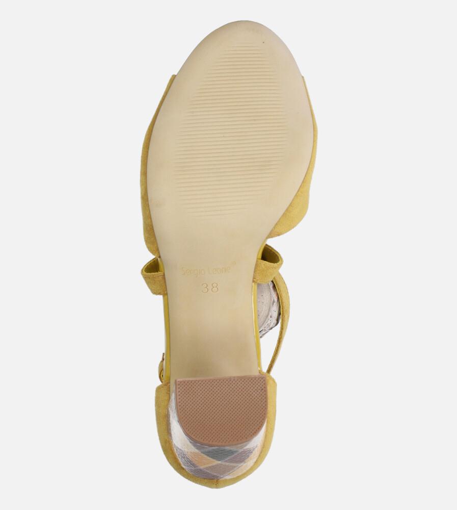 Sandały Sergio Leone na słupku z zakrytą piętą paski na krzyż żółte SK865 wysokosc_obcasa 8.5 cm