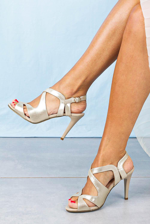 Sandały Sergio Leone szpilki błyszczące złote SK427 złoty
