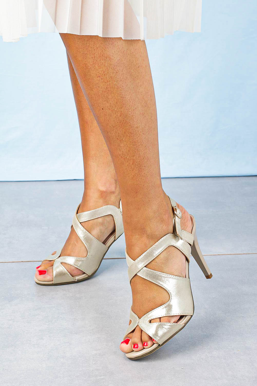 Sandały Sergio Leone szpilki błyszczące złote SK427