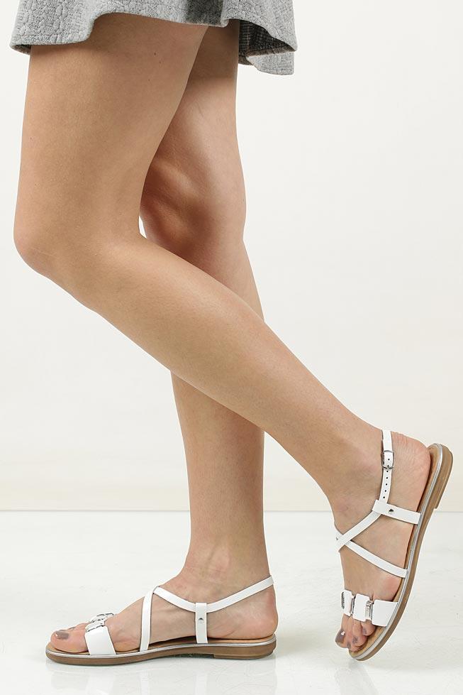 Damskie Sandały skórzane z ozdobami Marco Tozzi 2-28141-28 biały;;