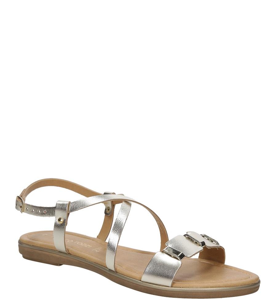 Sandały srebrne skórzane z ozdobami Marco Tozzi 2-28141-28