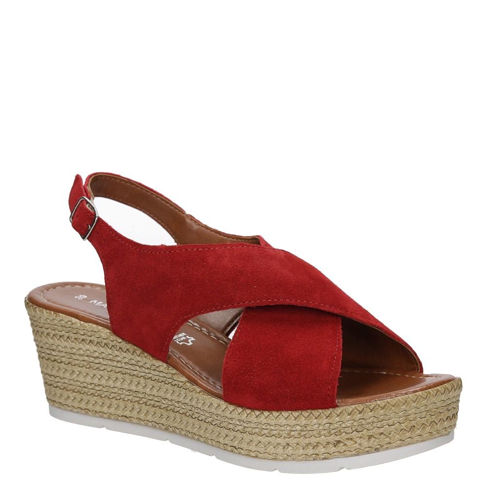 Sandały welurowe na koturnie Marco Tozzi 2-28362-28
