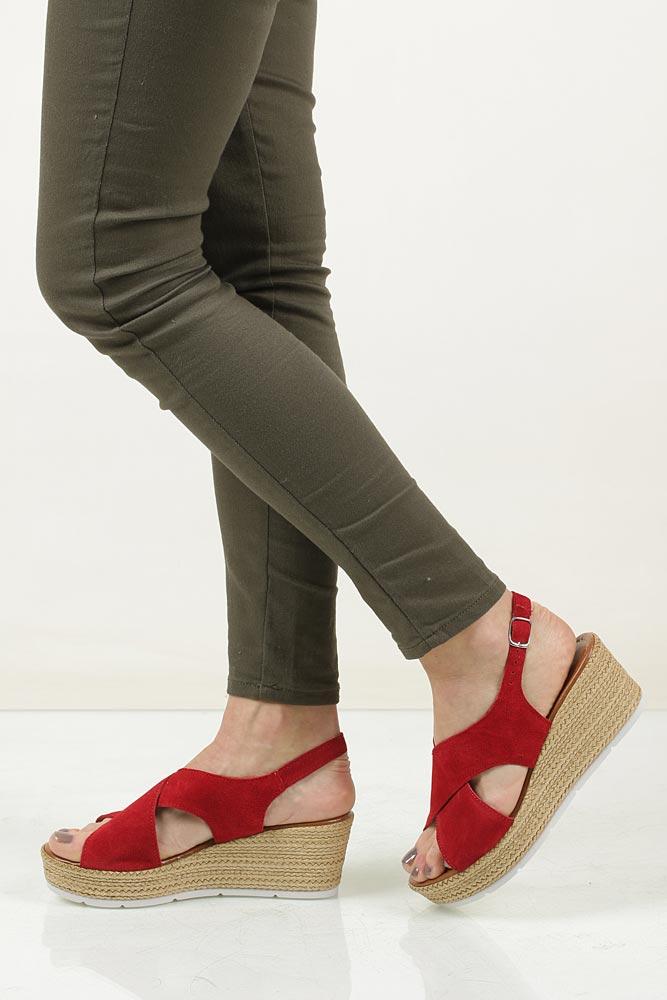 Sandały welurowe na koturnie Marco Tozzi 2-28362-28 model 2-28362-28
