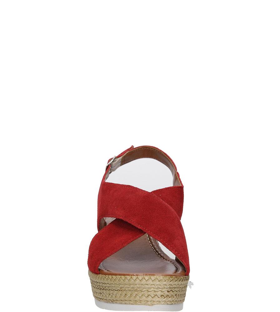 Sandały welurowe na koturnie Marco Tozzi 2-28362-28 kolor czerwony
