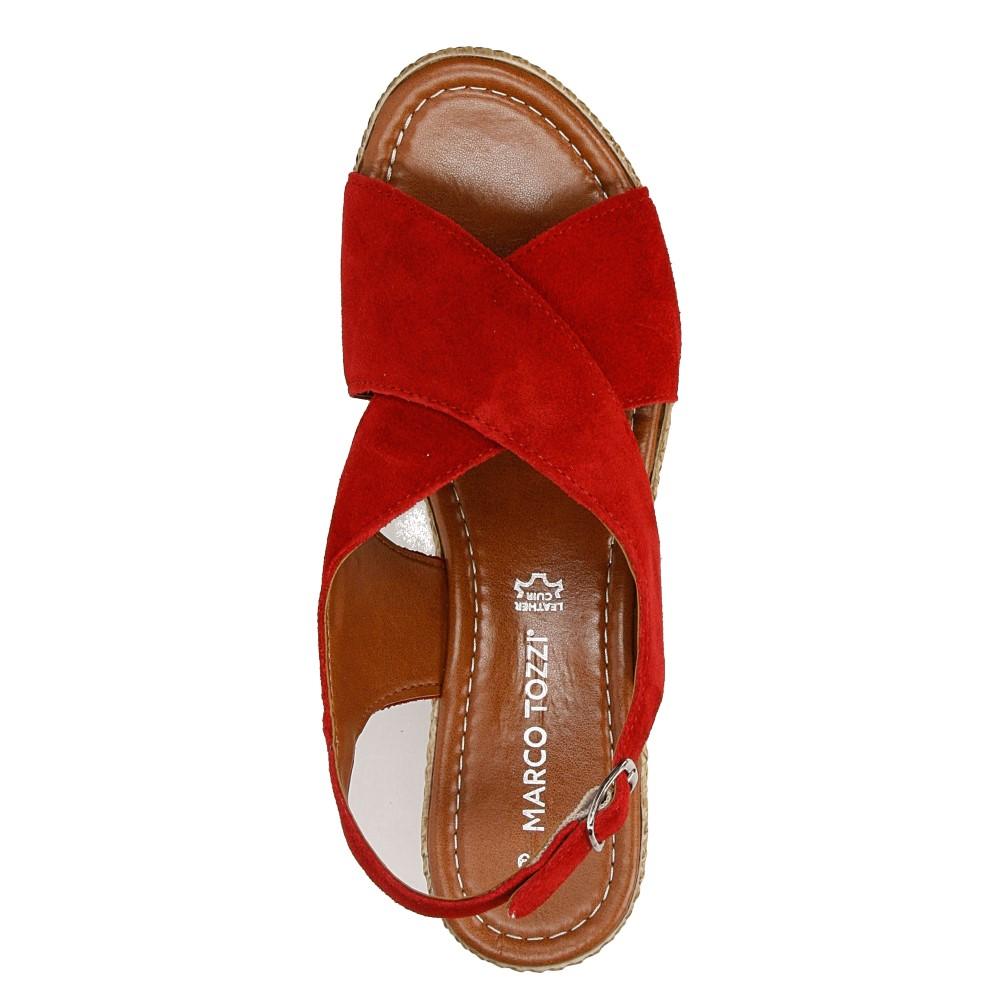 Sandały welurowe na koturnie Marco Tozzi 2-28362-28 wysokosc_platformy 3 cm