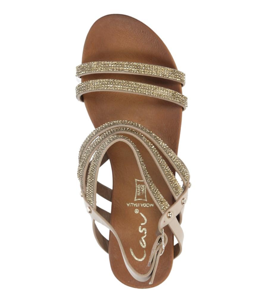 Beżowe sandały płaskie z mieniącymi się kryształkami Casu K18X8/BE wysokosc_platformy 1 cm