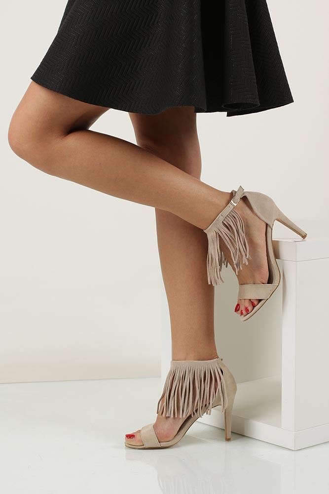 Sandały z frędzlami na szpilce Casu  LS39602