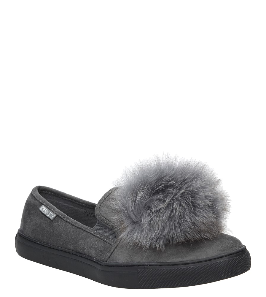 Damskie Slip on z futerkiem Big Star Y274478 szary;;