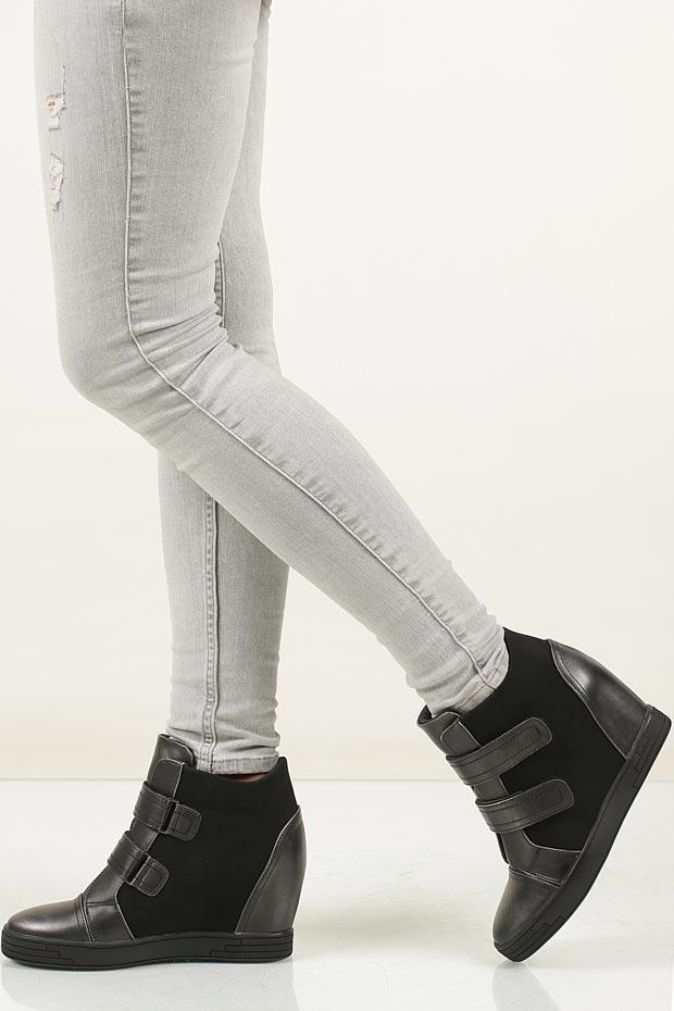 Sneakersy czarne na koturnie Sergio Leone 28789