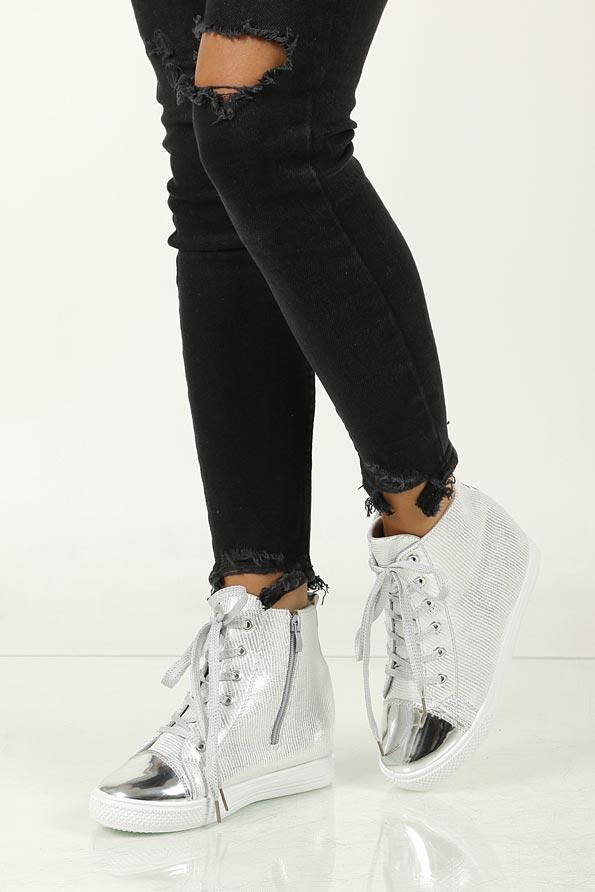 Sneakersy na koturnie Casu 29333 srebrny