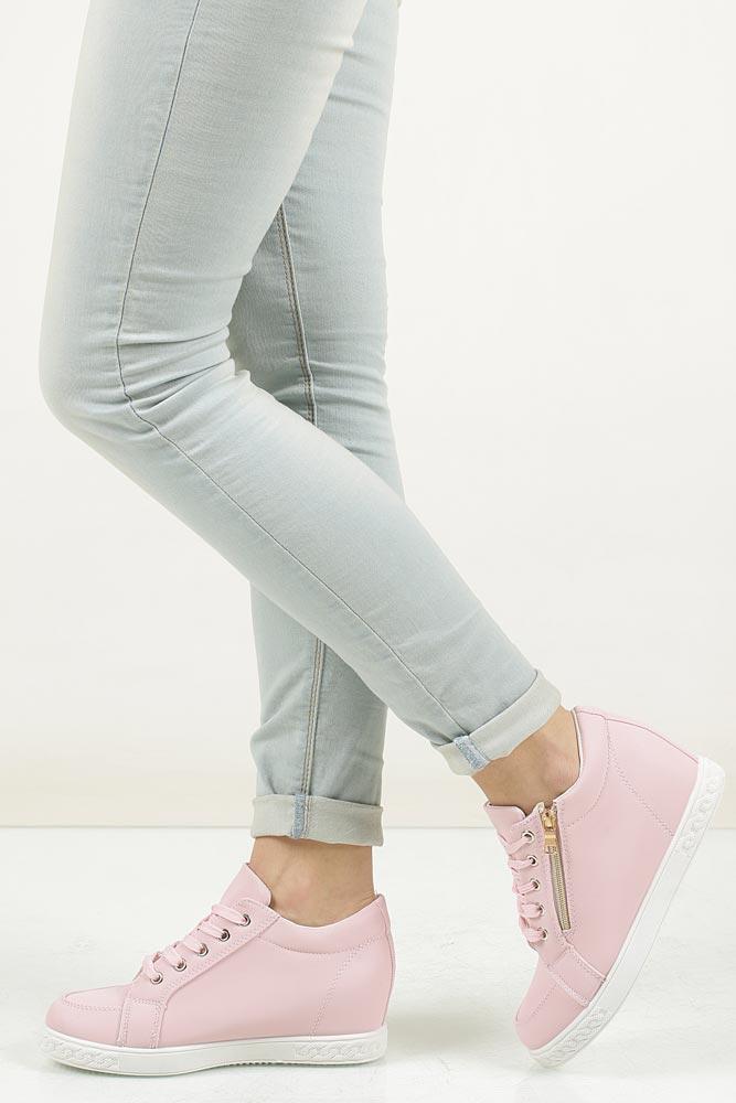 Damskie Sneakersy różowe na koturnie z ozdobnym zamkiem Casu A07 różowy;;